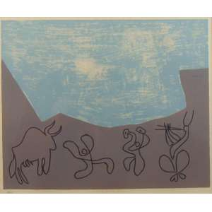 PICASSO - Abstrato/Rupestre - Linoleogravura - Tiragem 198 /520 –Estampado em relevo. (Reprodução autorizada) - 29 x 33 cm.