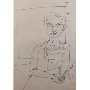 JORGE GUINLE - Auto retrato - Técnica mista sobre papel - CSD - 45 x 32 cm.
