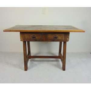 Mesa cavalete em madeira de lei gaveta central e puxadores de ferro. Brasil - 81 cm alt, 135 cm comp e 79 cm prof.