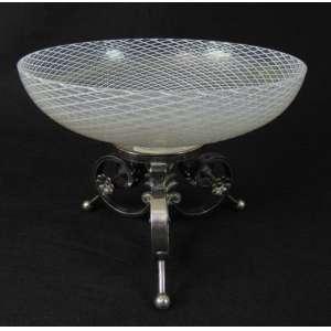 Fruteira em prata com taça em vidro de murano (no estado) - 15 cm alt, 20 cm diâm.