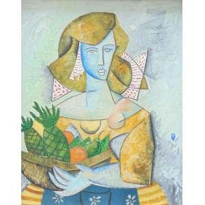 JESUS FUERTES - Moça com frutas - Ass. no verso - dat 1987 100 x 80 cm.