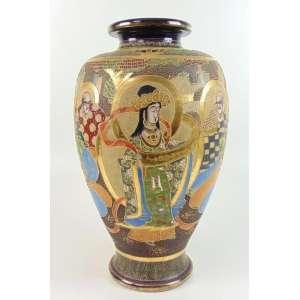 Vaso de cerâmica esmaltada decoração Satsuma . Japão Séc XX- 44 cm alt, 25 cm diâm.