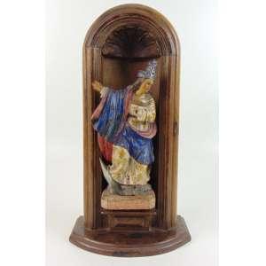 Imagem de madeira lavrada e policromada .Brasil Sec XIX -Acompanha oratório 27 cm alt, mini oratório 51 cm alt.