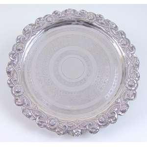 Salva de Prata Lei - Contraste P. Coroa - marca prateira interior em Guilhoche Portugal séc. XIX.