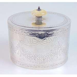 Porta chá - Prata de lei pega em marfim - contraste cidade de Londres período Vitoriano - Inglaterra séc. XIX.