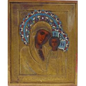 ÍCONE em metal dourado ornamentado por belo trabalho a esmalte e pintura a óleo . Russia Séc XIX - 23 x 19 cm.