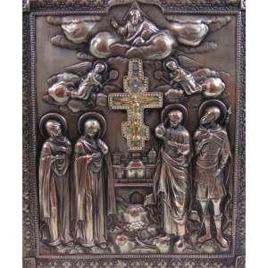 ÍCONE em fino metal repuxado espessurado a prata , detalhe central com cruz em esmalte . Russia Séc XIX .- 30 x 26 cm.