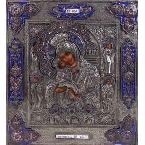 ÍCONE em metal ricamente trabalhado detalhado em esmalte e pintura a óleo 40 x 35 cm. Grécia Séc XX