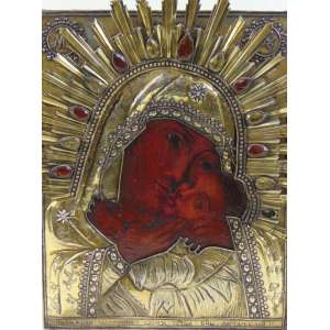 ÍCONE em metal dourado finamente repuxado ornamentado por gemas , pintura a óleo - Russia Séc XVIIIXIX - 34 x 28 cm.