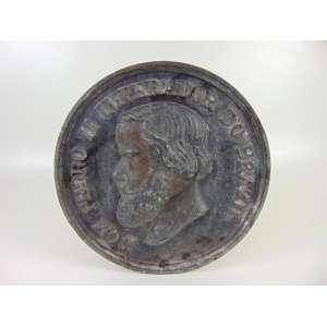 Placa Petit Bronze com a efigie de D.Pedro II - 39 cm diâm.