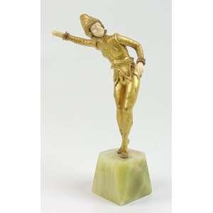 Escultura de bronze e marfim representando arlequim sobre base de onix - 16 cm alt. França Sec XX.