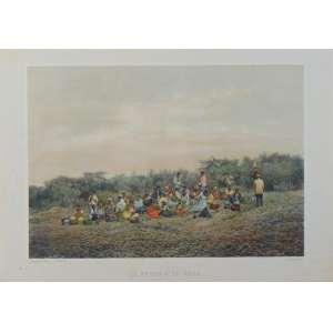VICTOR FROND -Belissima Litografia colorida - 30 x 43 cm.Brasil Séc XIX.Jean-Victor Frond (Montfaucon (Lot), 1821 - Varreddes, França 1881), fotógrafo e pintor francês, possuiu um estúdio no Rio de Janeiro entre os anos de 1858 e 1862.