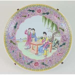 Medalhão de porcelana esmaltada. China inicio Séc XX - Séc XIX - 33 cm diâm.