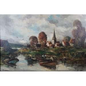 J.BRETON - Paisagem com casas, CIE/OST - 59 x 78 cm.