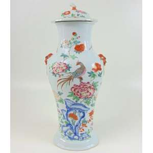 Grande Potiche de porcelana esmaltada decoração família Rosa .Cia das Índias -China Sec XVIII S- 58 cm alt.