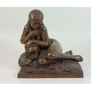 L. COLUCCINI - Escultura de bronze representando India - 36 cm alt, 38 x 29 cm.
