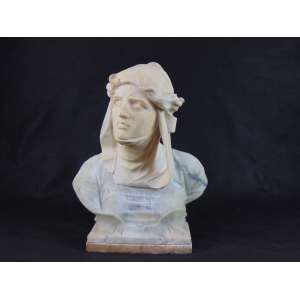 Busto de alabasto em 2 tons - representando dama renascentista-ítalia séc. XIX .