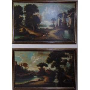 ANÔNIMO - Par de pinturas com paisagens - OST - Europa Sec XIX - 100 x 160 cm cada. .