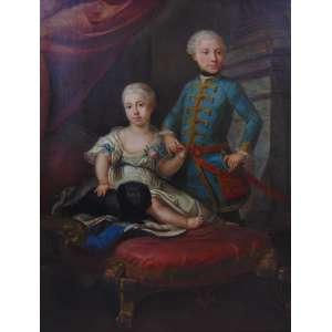 Escola inglesa - Representando nobre casal de irmãos - OST - Inglaterra, Séc XVIII - 133 x 100 cm.
