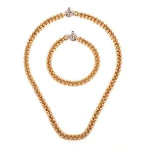 H.Stern - Conjunto de colar e pulseira de ouro amarelo e branco 18k e cabochões de safira. Cerca de 110,0g. Acompanha estojo original.