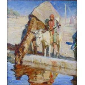 ADAM STYKA - Paisagem com camelo - OST /CID - 62 x 53 cm. pintor franco-polonês. Nascido em 7 de abril de 1890 pelo proeminente pintor francês Jan Styka , ele se tornou um discípulo do movimento orientalista, pintando representações do oeste americano, exotizando motivos estrangeiros e temas religiosos. Depois de um período nas forças armadas francesas, Styka recebeu a Ordem Nacional do Mérito em conjunto com a cidadania francesa. Utilizando a fidelidade de seu país recém-adquirido, ele viajou para o norte da África, absorvendo a cultura e as imagens islâmicas para destilar suas pinturas posteriores, criando trabalhos realisticamente retratados com mulheres de harém, guerreiros e paisagens desérticas.