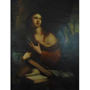 NICCOLÓ BAMBINI (1651-1736) Atribuído - Maria Madalena , oleo sobre tela Nasceu em Veneza em 1651, e primeiro estudou Giulio Mazzoni . A este período pertencem o teto da Igreja de S. Moisè, em um estado pobre de preservação, e uma alegoria de Veneza no corredor das quatro portas do Palácio Ducal. Mais tarde, foi para Roma, onde ele se tornou um aluno de Carlo Maratti. Em seu regresso à sua pátria, vendo que o mundo inteiro estava correndo atrás das pinturas de Liberi, ele também seguiu aquela bela maneira de pintar.