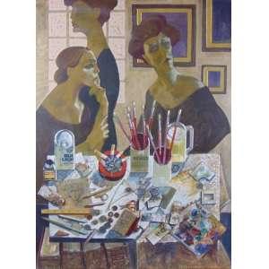 JUAREZ MACHADO - Cena de interior - óleo e colagem sobre tela - CSE - Dat 1986 - 96 x 70 cm.