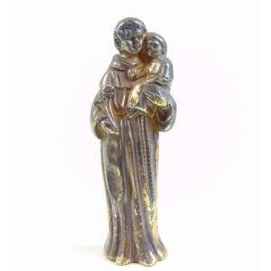 Pendente de prata de lei dourada representando Santo Antonio - Brasil séc XIX - 9,5 cm altura.