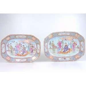 Par de delicadas travessas de porcelana esmaltada da Cia das Indias - China Sec XVIII - maior 29 x 22 cm - menor 29 x 20 cm.
