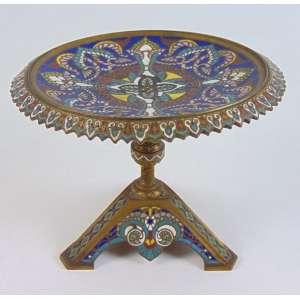 Centro de mesa de bronze e esmalte Cloisonee - 16 cm alt, 21 cm diâm.Europa Sec XIX.