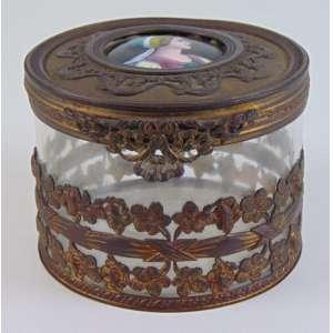 Caixa em vidro artístico esmalte e bronze - 8 cm alt, 11 cm diâm. Europa Sec XIX