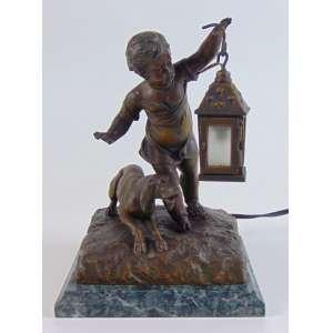 Luminária em bronze menino com cachorro - 21 cm alt, 14 x 13 cm (no estado)