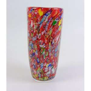 Belo vaso em murano trabalho em millefiori . Itália 29 cm alt, 14 cm diâm.