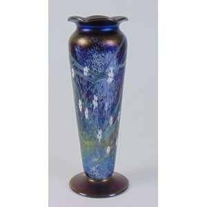 Vaso em vidro artístico iridescente a maneira de Loetz - 24 cm alt, 8 cm diâm.