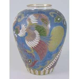 Vaso em vidro artístico esmaltado - 25 cm alt, 18 cm diâm.