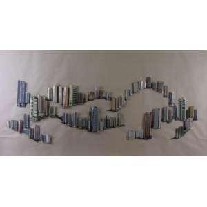 Rodrigo Matheus - Engeoplan - 2005 - colagem sobre papel- 100 x 186 cm.