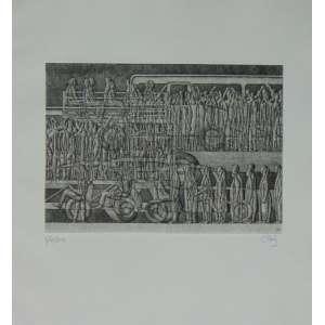 Carlos Prado da série A cidade moderna- 1958 - gravura em metal - 19 x 26 cm. Não emoldurada