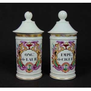 Par de Potes de porcelana esmaltada para artigos de farmácia . França Sec XIXXX. - 25 cm alt, 10 cm diâm.