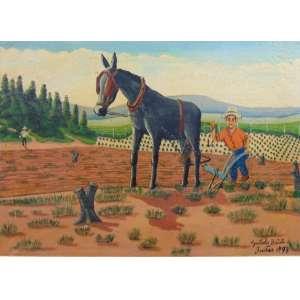 AGOSTINHO BATISTA DE FREITAS - Cena Rural - OST/CID - dat 1973 -(pequeno furo na tela) 49 x 69 cm.