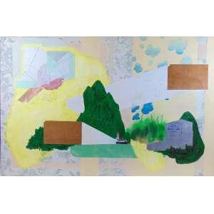 Bruno Miguel - Colecionando Veríssimos - acrílica, tinta a óleo, esmalte, colorjete e colagem sobre tecido - ass. verso - 2009 - 80 x 120 cm - Certificado da galeria Emma Thomas - SP.