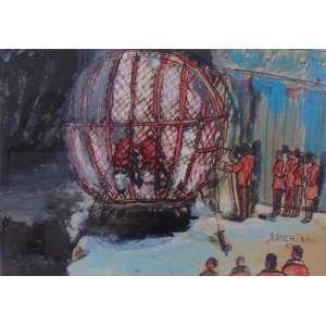 Ranchinho - Circo, globo da morte - guache s/cartão - ass. CID - 1982 - 34 x 49 cm