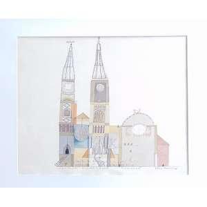 Alex Ceverny - Catedral - técnica mista - Ass. CID - 1987 - 56 x 77 cm. (não emoldurada).