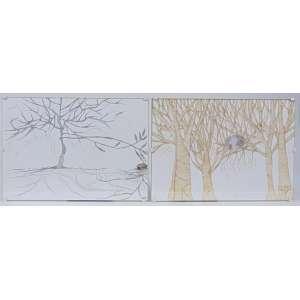 Mônica Rubinho - Lote com 2 desenhos da série Regular Dream - Téc. mista s/papel - Ass. no verso - 2008 - 21 x 30 cm cada.