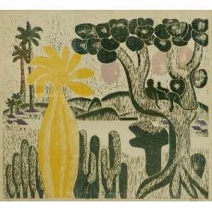 TARSILA DO AMARAL - Cartão Postal - xilogravura CID - dat 1972. 48 x 54 cm.