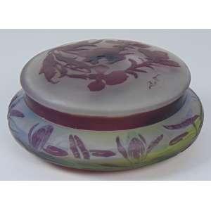 GALLÉ - Caixa redonda de pasta de vidro com flores e flores na cor lilás - 13 cm de diâmetro, 6 cm de alt.