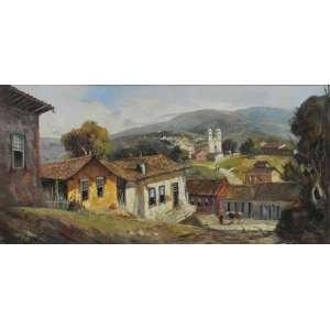 DURVAL PEREIRA. Casario - OST - CID - datado de 1967 - 60 x 120 cm.