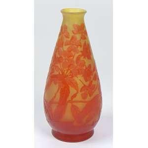 GALLÉ - Vaso de pasta de vidro decoração em flores - 19 cm de alt.