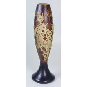 GALLÉ - Vaso de pasta de vidro decoração de folhas e frutos - 50 cm de altura