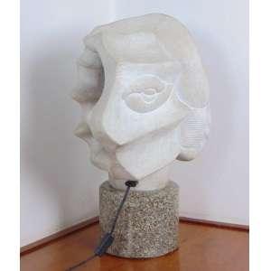 Luiza Citrino - Luminária de mármore branco, base de granito - 53 cm alt.