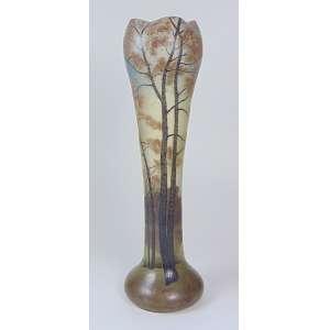 LEGRAS - Vaso de pasta de vidro com paisagem de árvores e lago - 60 cm de alt.